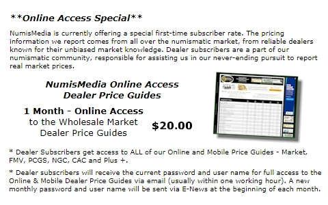 Specials for NumisMedia Price Guides