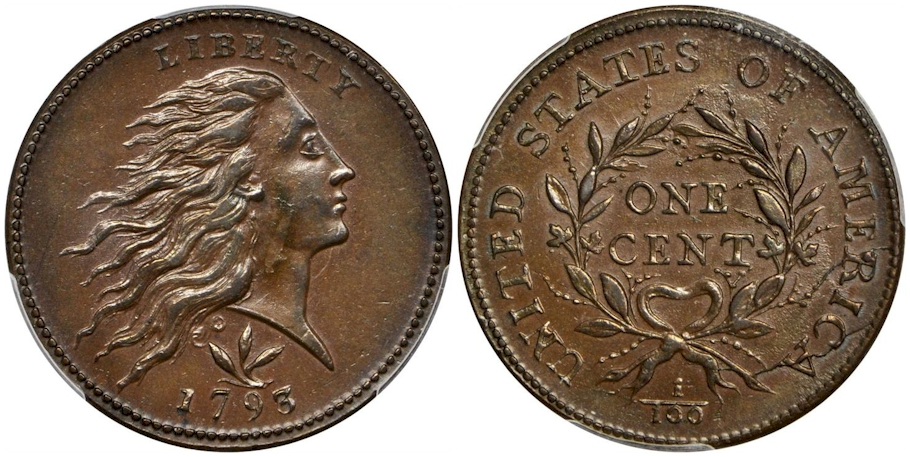 Large Cents 1793 Vine & Bars BN