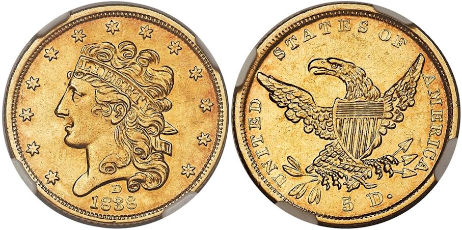 $5 Gold 1838 D