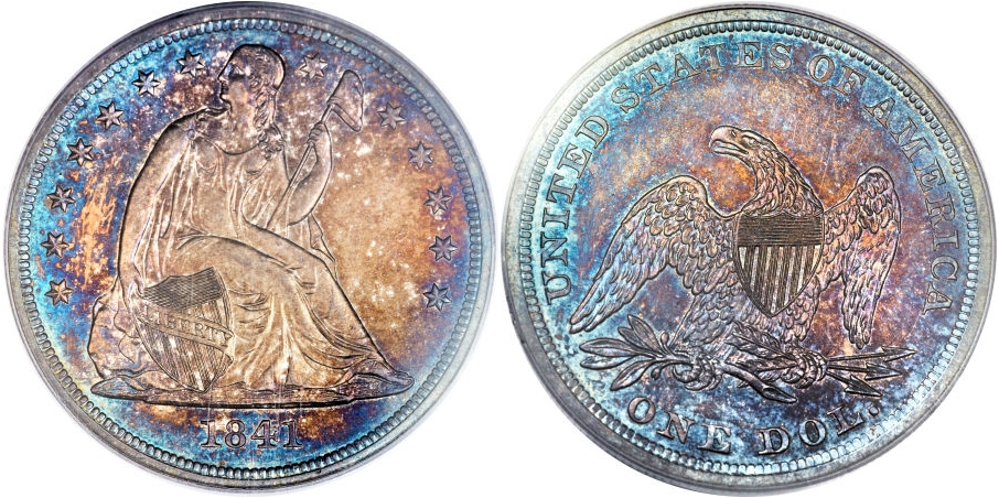 Liberty Seated Dollars 1841 Proof