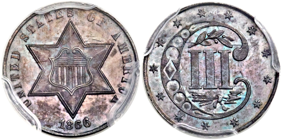 Three Cents - Silver 1866