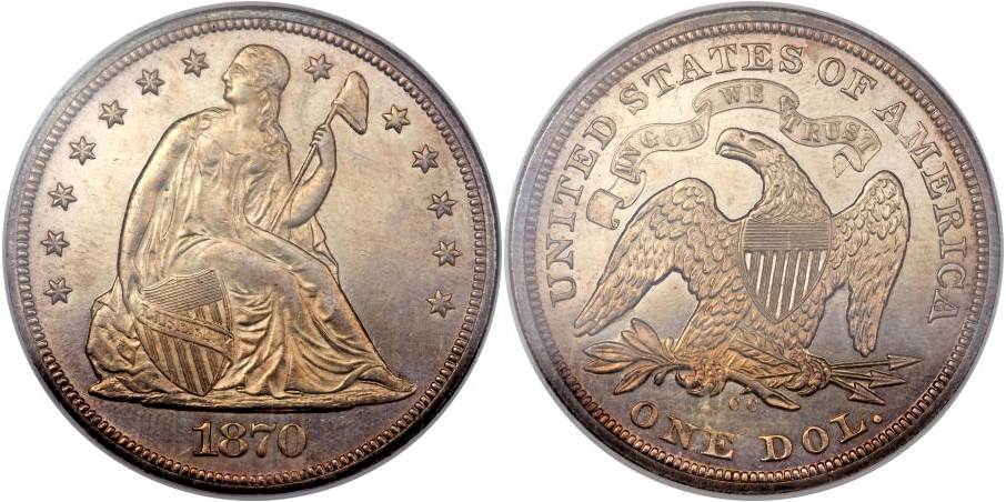 Liberty Seated Dollars 1870 CC