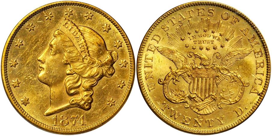 $20 Gold 1874 CC