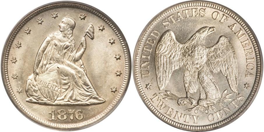 Twenty Cents 1876 CC