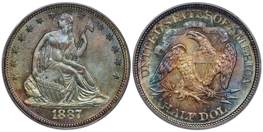 1887 Liberty Seated Half Dollar MS67 PCGS CAC