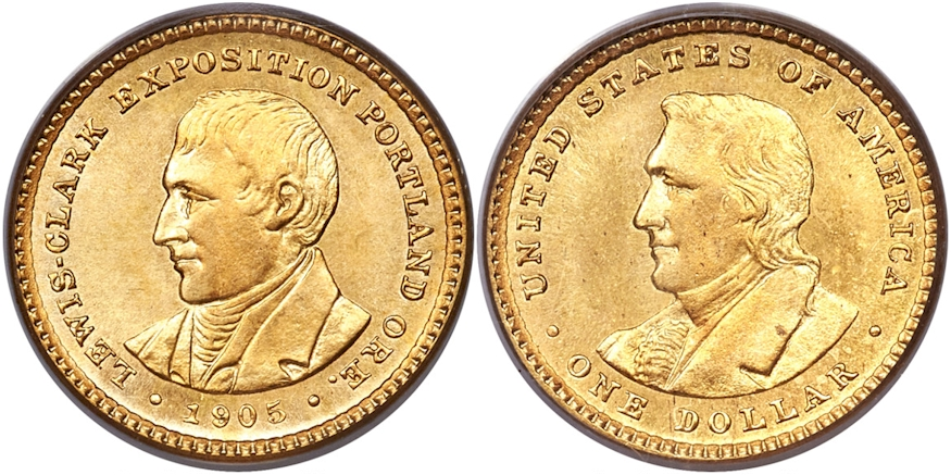 Gold Commemoratives 1905 L & C Expo $1