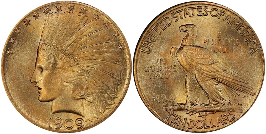 $10 Gold Indians 1909 S