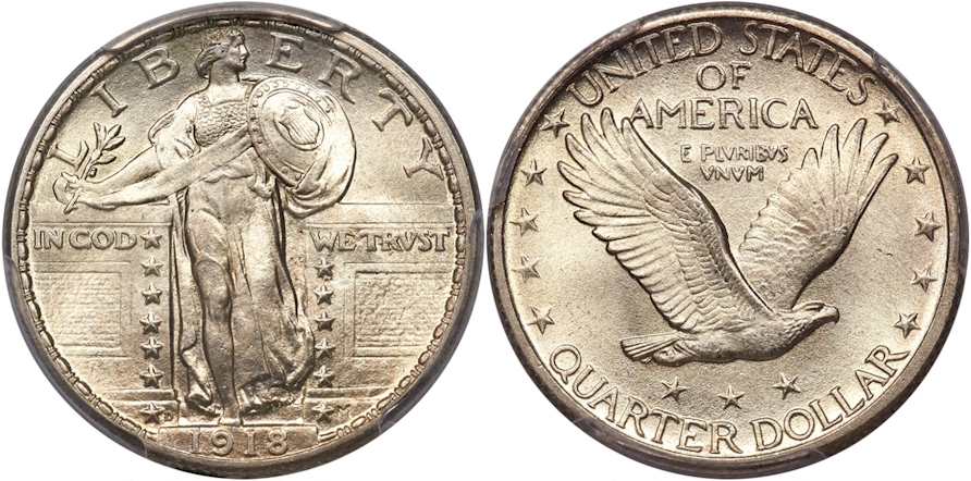 Full Head Standing Liberty Quarters 1918 D
