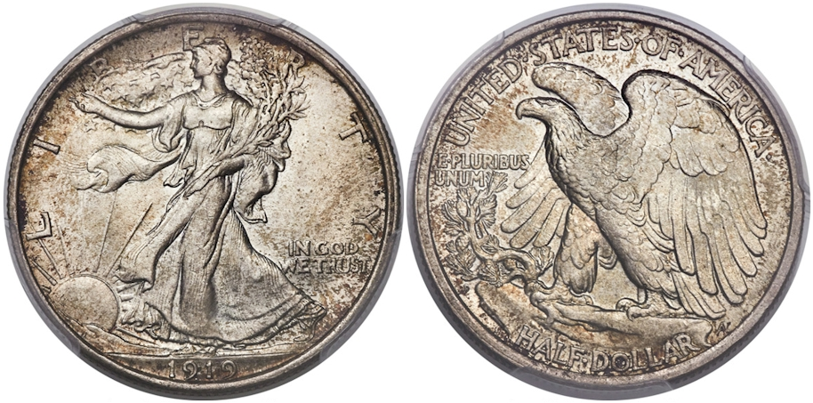 Walking Liberty Half Dollars 1919 D