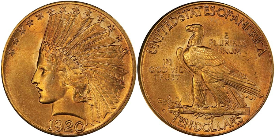 $10 Gold Indians 1920 S