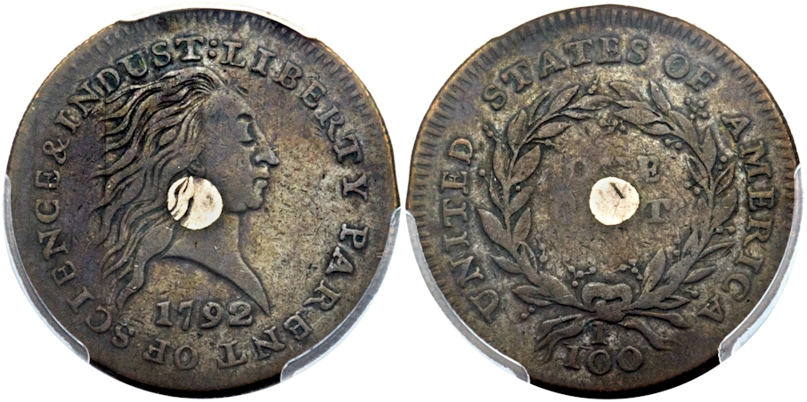 1792 Silver Center Cent PCGS SP35 CAC