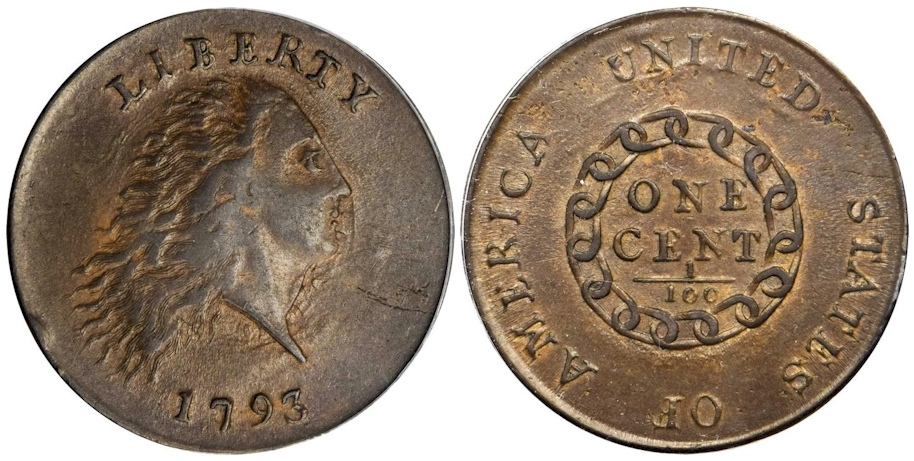 1793 Flowing Hair Large Cent Chain Reverse AMERICA PCGS AU55 CAC