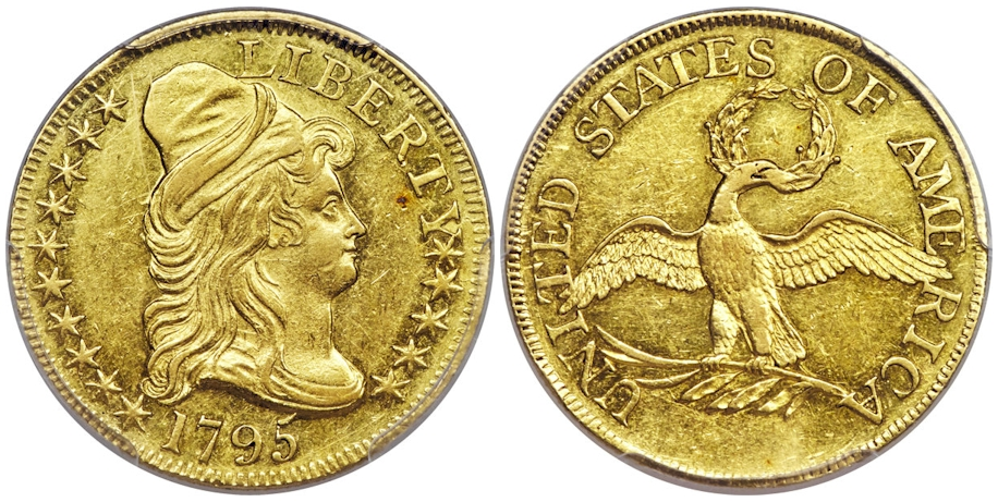 1795 $5 Gold Small Eagle PCGS AU58+