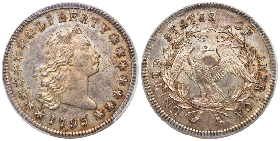 1795 Flowing Hair Dollar Three Leaves with Silver Plug PCGS MS65+ CAC