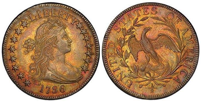1796 Draped Bust Half Dollar 15 Stars PCGS AU58+
