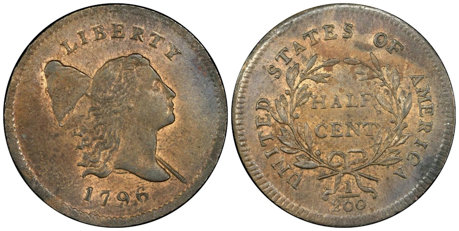 1796 Liberty Cap Half Cent with Pole PCGS MS66 RB