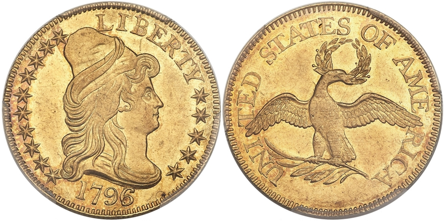 1796/5 $5 Gold Small Eagle PCGS MS62 CAC