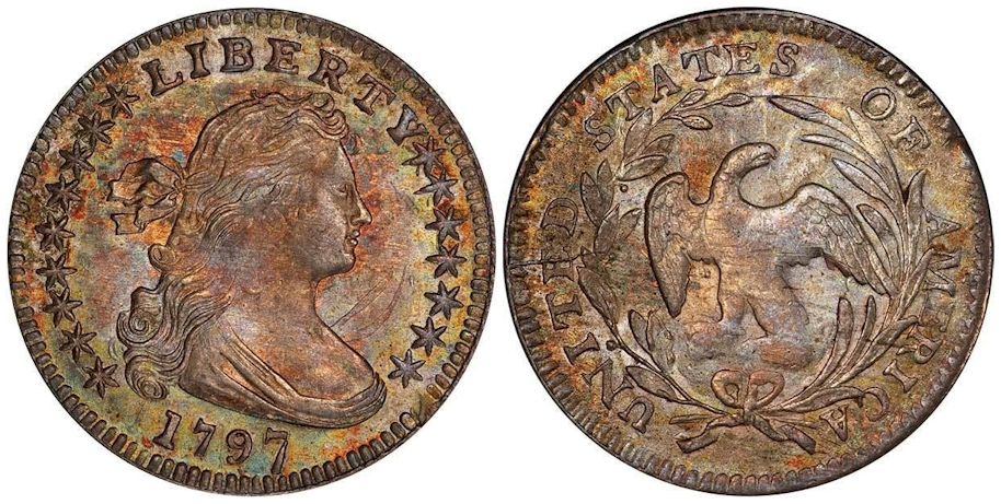 1797 Draped Bust Half Dime 16 Stars PCGS MS65+ CAC