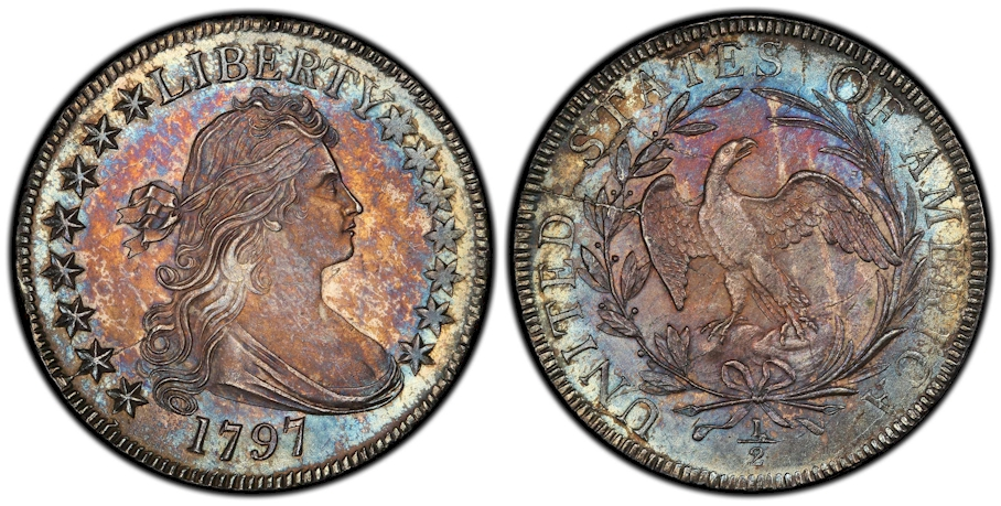 1797 Draped Bust Half Dollar Small Eagle 15 Stars PCGS MS66 CAC
