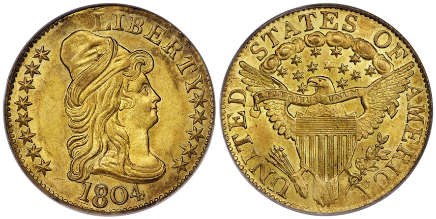 1804 $5 Gold Small Over Large 8 MS63 PCGS CAC