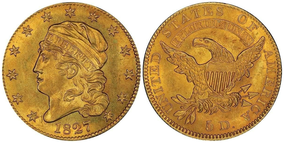 1827 $5 Gold PCGS MS64 CAC