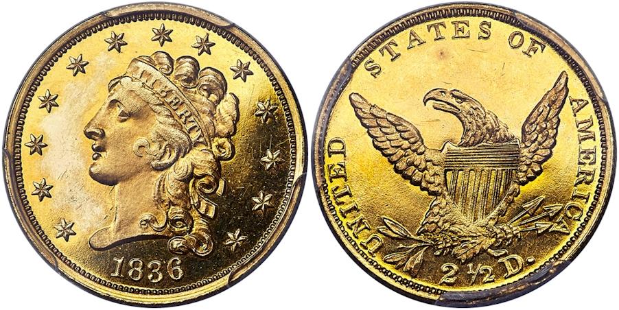 1836 $2½ Gold Classic PCGS PR65+ CAC, Block 8, Second Head of 1837
