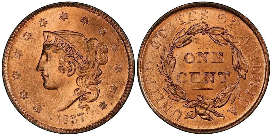 1837 Large Cent, Medium Letters, PCGS MS65+ Red CAC