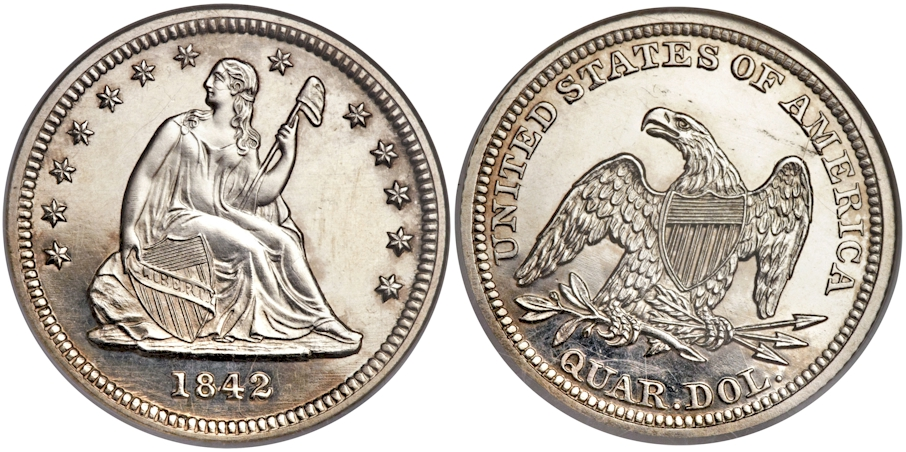 Liberty Seated Quarters 1842 Sm. Date Proof