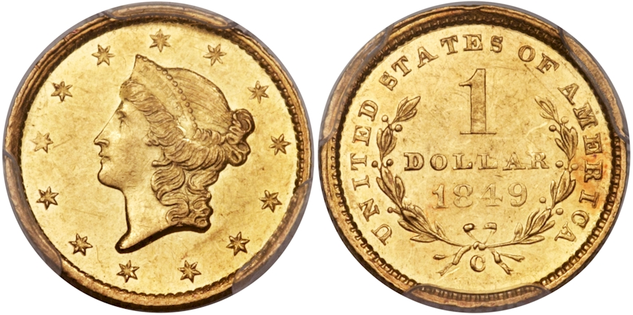 $1 Gold 1849 C Open Wreath