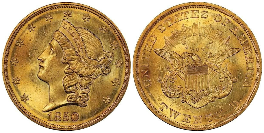 1850 $20 Gold PCGS MS64 CAC
