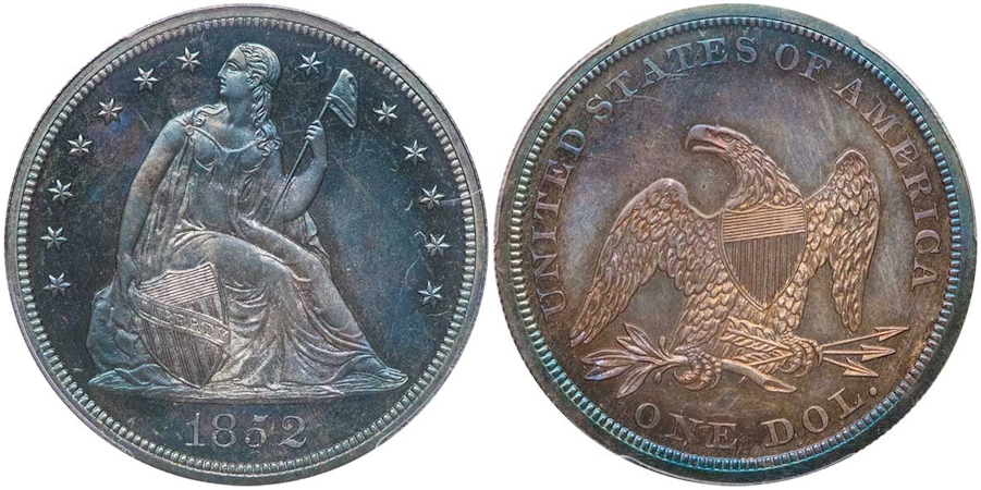 Liberty Seated Dollars 1852 Original Proof