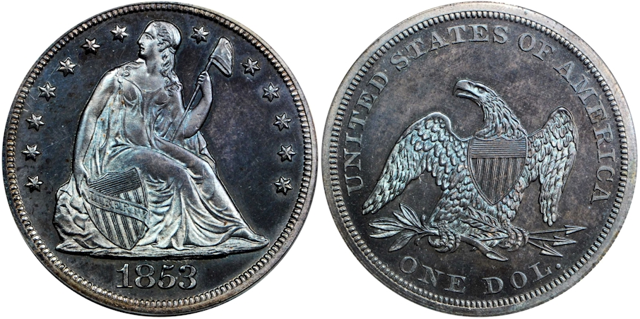 Liberty Seated Dollars 1853 Proof