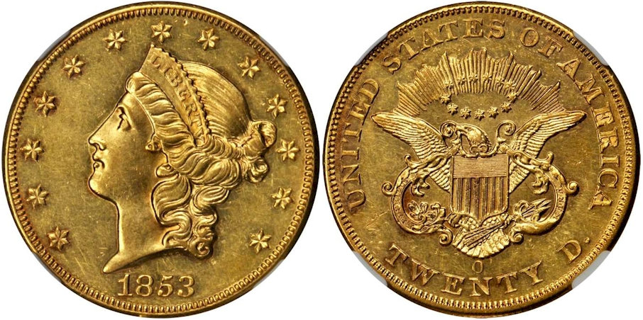 $20 Gold 1853 O