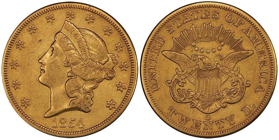 1854 O $20 Gold PCGS XF40
