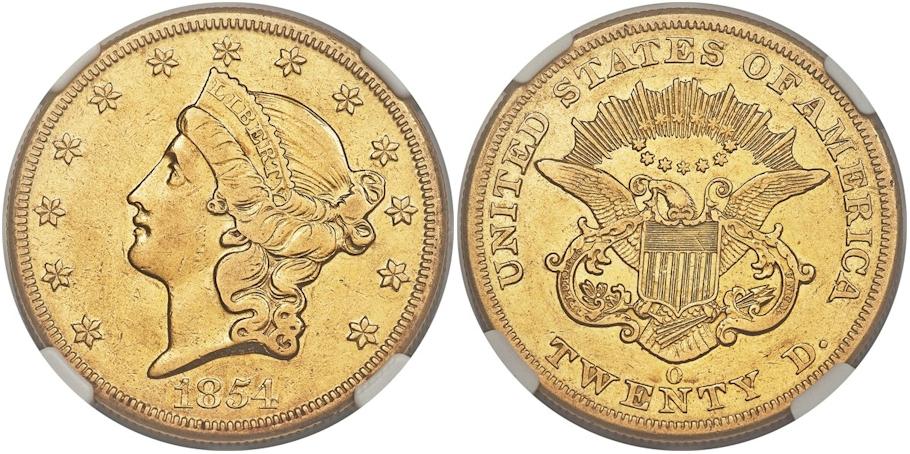 1854 O $20 Gold XF45 NGC