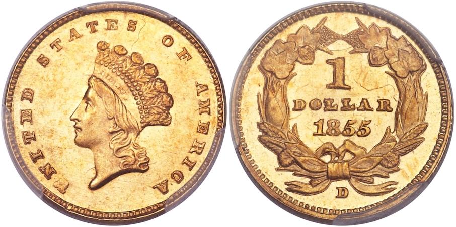$1 Gold 1855 D