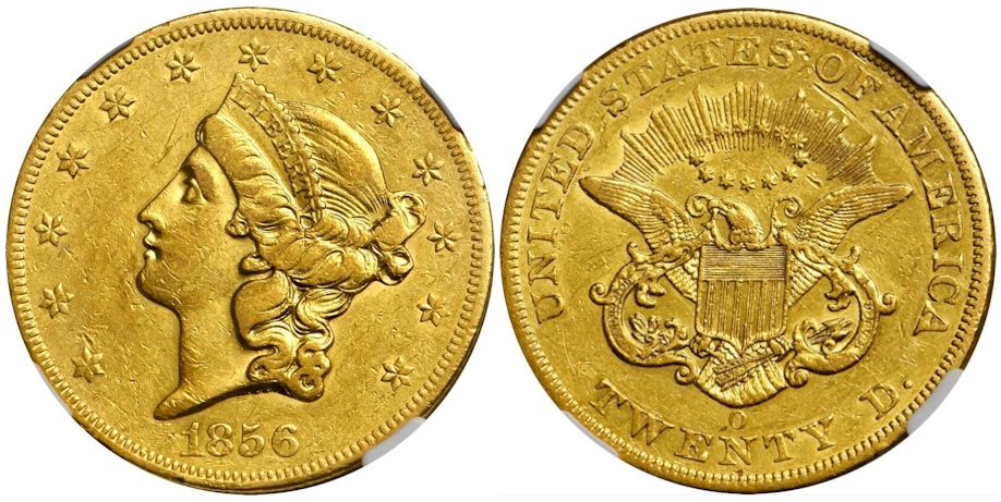 1856 O $20 Gold NGC AU53