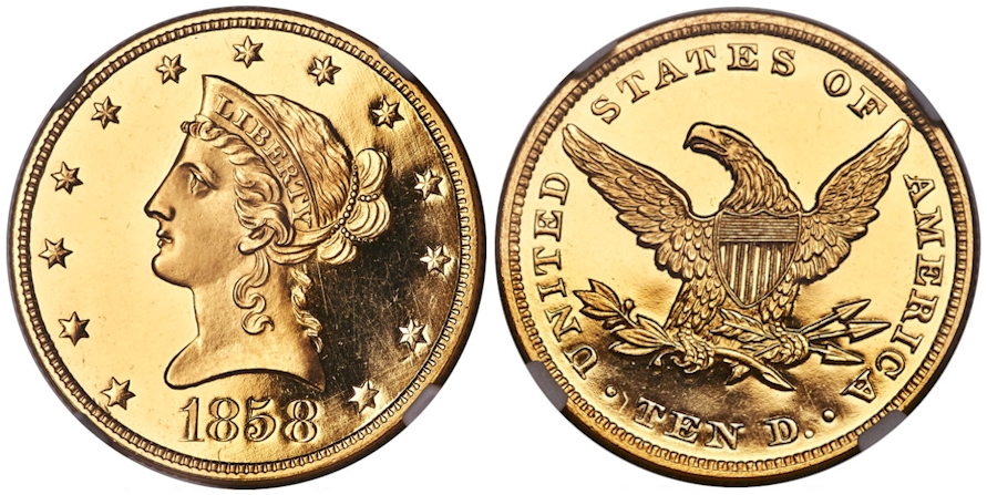 Proof $10 Gold 1858 Deep Cameo