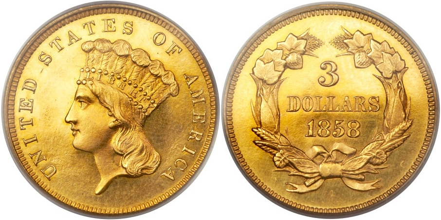 Proof $3 Gold 1858
