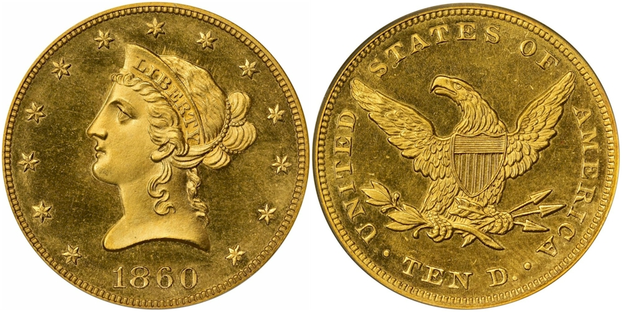 Proof $10 Gold 1860