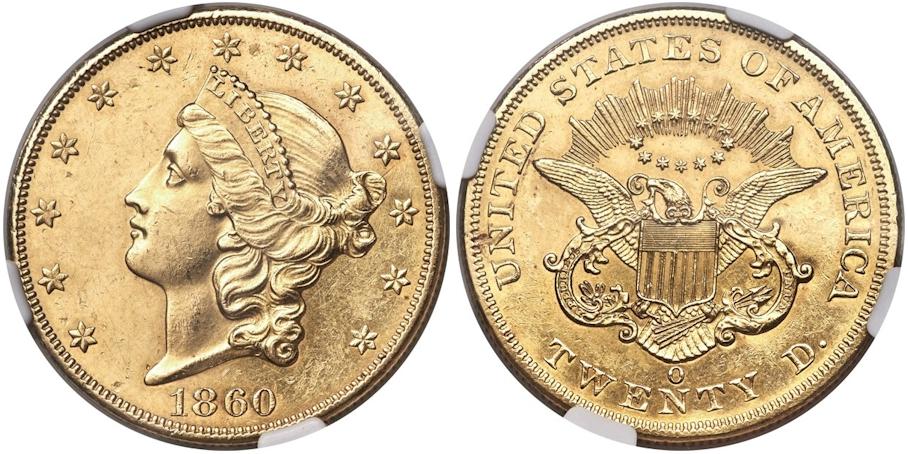 $20 Gold 1860 O