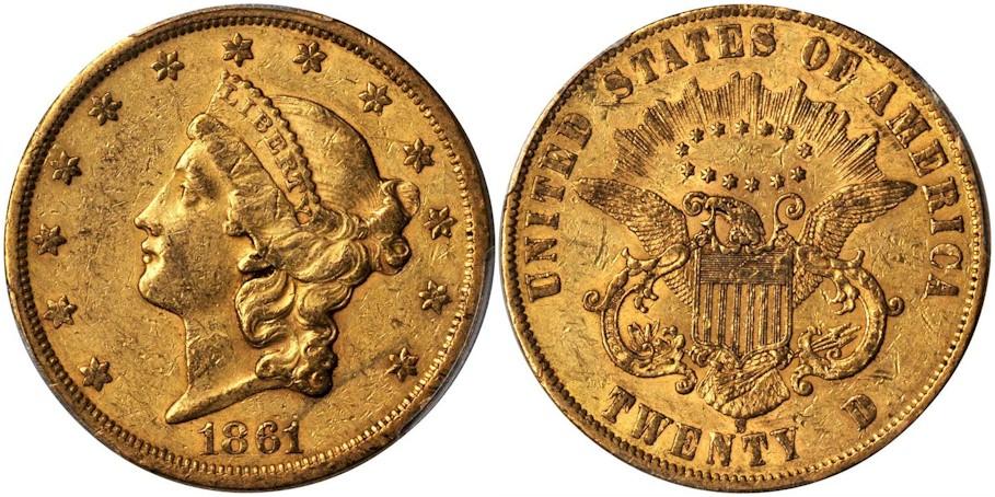 $20 Gold 1861 S Paquet Rev.