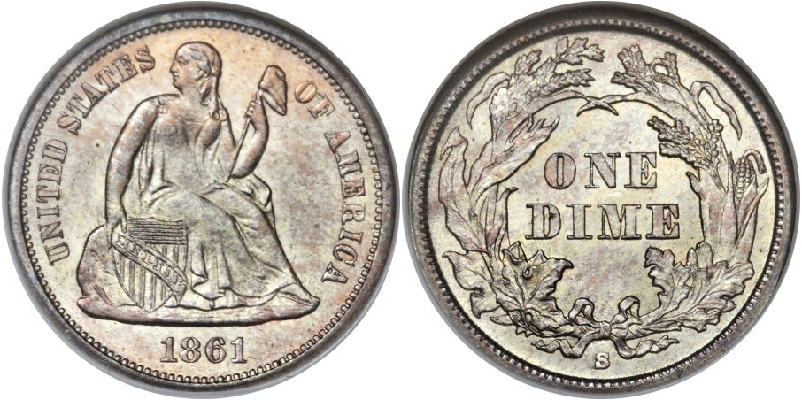 Liberty Seated Dimes 1861 S