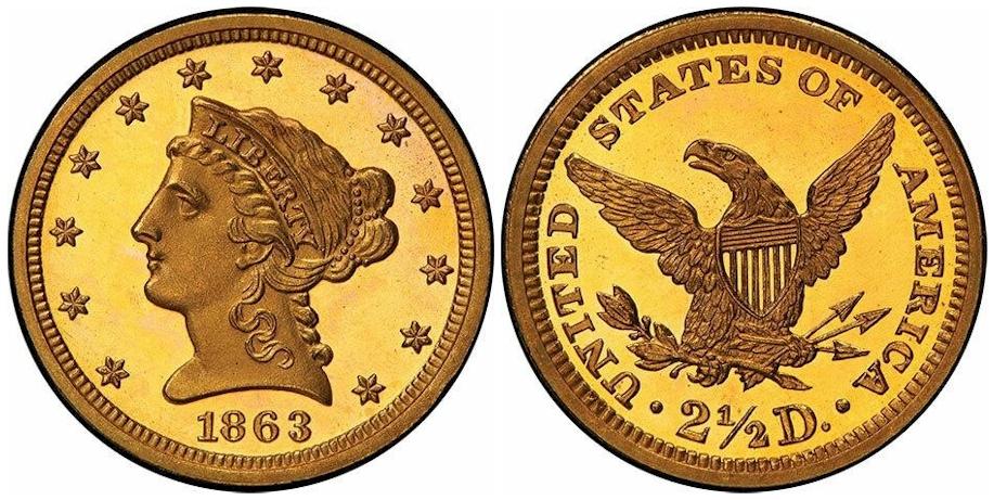 Proof $2½ Gold 1863 Deep Cameo