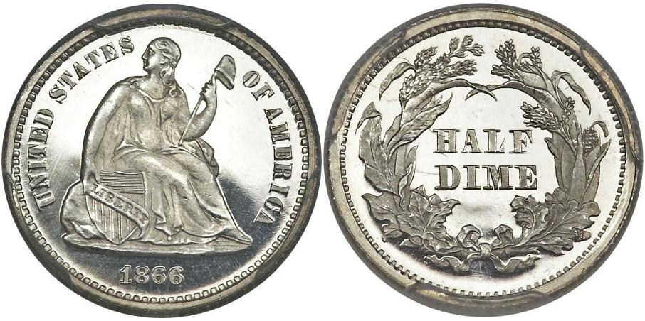 Half Dimes 1866 Proof