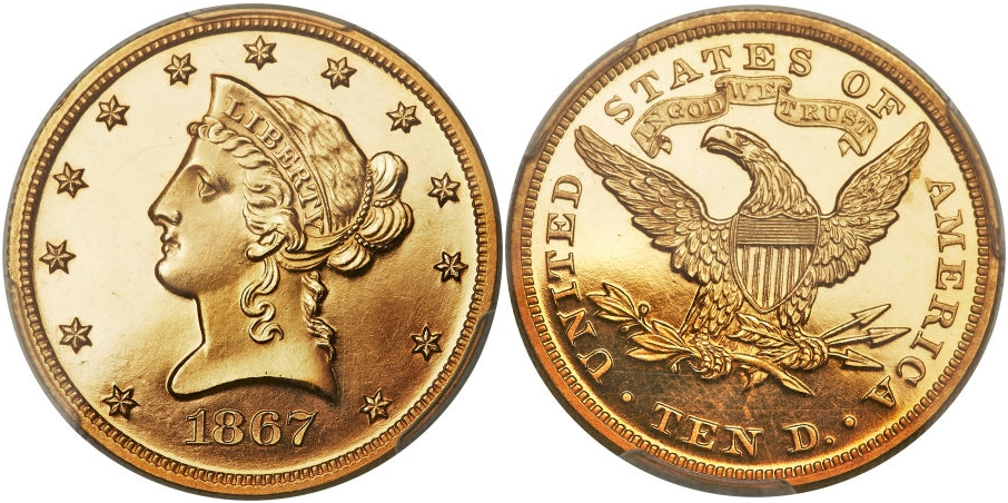 Proof $10 Gold 1867 Cameo