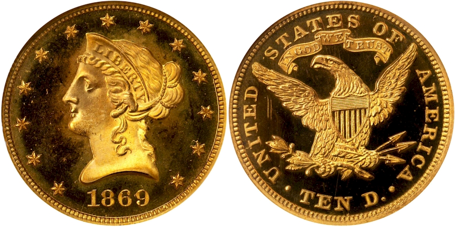 Proof $10 Gold 1869 Deep Cameo