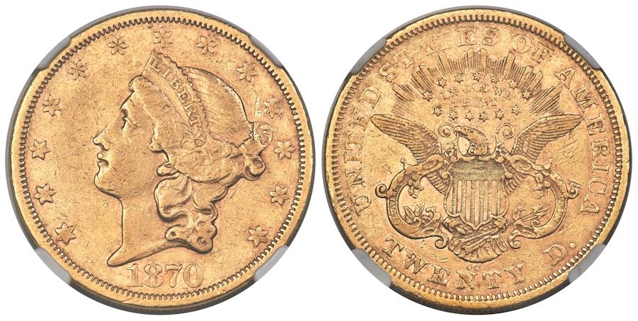 1870 CC $20 Gold NGC XF45