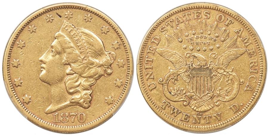 1870 CC $20 Gold PCGS XF40