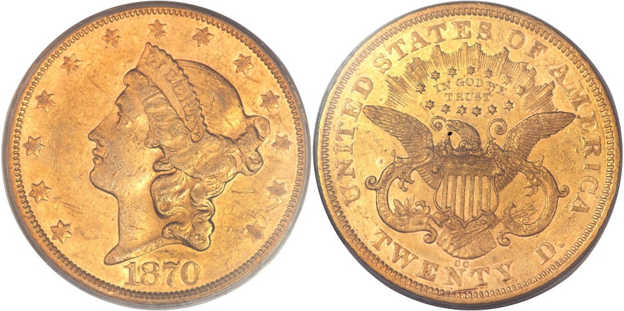 $20 Gold 1870 CC